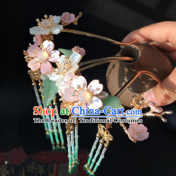 Traditional Handmade Chinese Ancient Classical Hair Accessories Shell Flowers Hairpins Hair Stick for Women