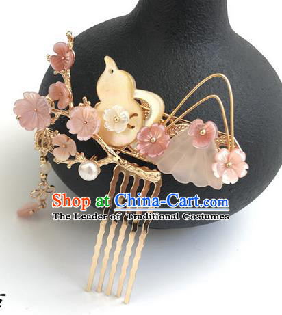Traditional Handmade Chinese Ancient Classical Hair Accessories Shell Flowers Hair Comb Hairpins for Women