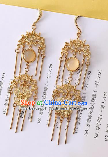Traditional Handmade Chinese Ancient Classical Accessories Hanfu Golden Butterfly Tassel Earrings for Women