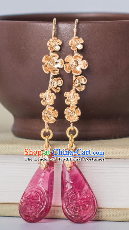 Traditional Handmade Chinese Ancient Classical Accessories Hanfu Pink Tassel Earrings for Women