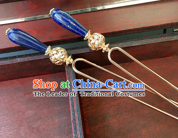 Traditional Handmade Chinese Ancient Classical Hair Accessories Hanfu Blue Hairpins Hair Clip for Women