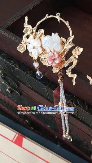 Traditional Handmade Chinese Ancient Classical Hair Accessories Jade Rabbit Hair Stick Hanfu Hairpins for Women