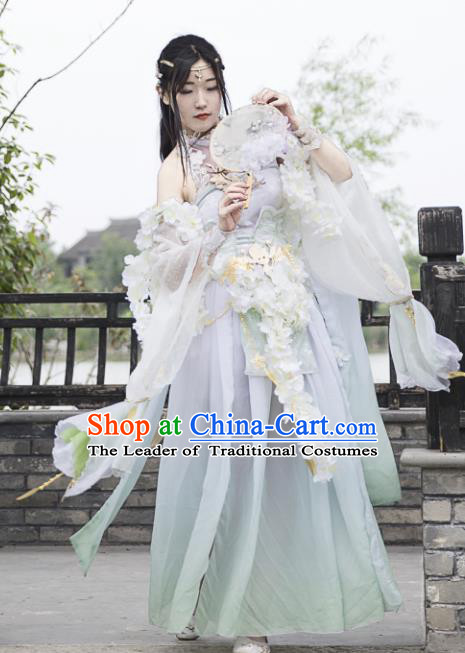 Chinese Ancient Tang Dynasty Princess Costume Cosplay Female Knight-errant White Dress Hanfu Clothing for Women