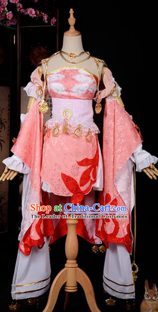 Chinese Ancient Princess Young Lady Costume Cosplay Swordswoman Dress Hanfu Clothing for Women