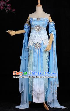 Chinese Ancient Swordswoman Costume Cosplay Tang Dynasty Princess Blue Dress Hanfu Clothing for Women