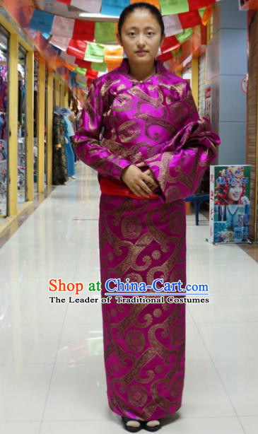 Chinese Traditional Zang Nationality Brocade Tibetan Robe, China Tibetan Ethnic Heishui Dance Costume for Women