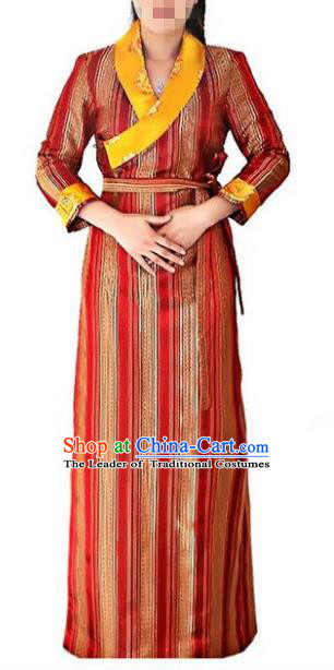 Chinese Traditional Zang Nationality Red Dress, China Tibetan Ethnic Heishui Dance Costume for Women