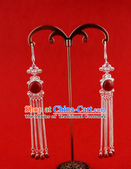 Chinese Traditional Zang Nationality Earrings Accessories, China Tibetan Ethnic Silver Eardrop for Women
