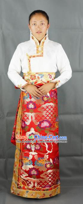 Chinese Traditional Zang Nationality Red Brocade Bust Skirt, China Tibetan Ethnic Heishui Dance Costume for Women