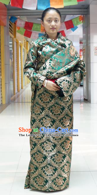 Chinese Zang Nationality Green Brocade Tibetan Robe, China Traditional Tibetan Ethnic Heishui Dance Costume for Women