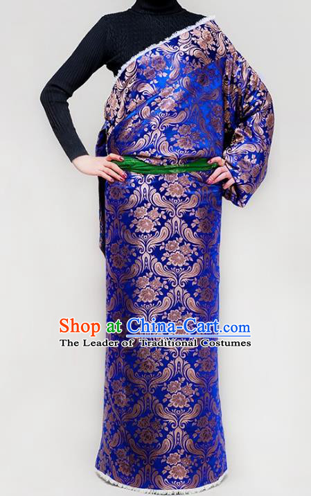 Chinese Zang Nationality Royalblue Brocade Tibetan Robe, China Traditional Tibetan Ethnic Heishui Dance Costume for Women