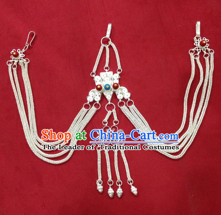Chinese Traditional Zang Nationality Waist Accessories, China Tibetan Ethnic Cupronickel Waist Chain for Women