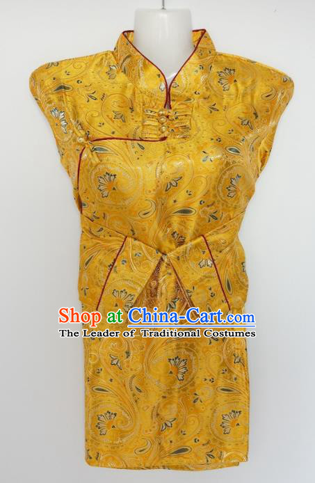 Chinese Traditional Zang Nationality Yellow Brocade Blouse, China Tibetan Ethnic Heishui Dance Costume for Women