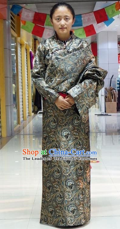 Chinese Zang Nationality Atrovirens Tibetan Robe, China Traditional Tibetan Ethnic Heishui Dance Costume for Women