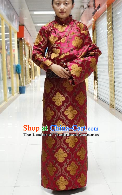 Chinese Zang Nationality Wine Red Satin Tibetan Robe, China Traditional Tibetan Ethnic Heishui Dance Costume for Women
