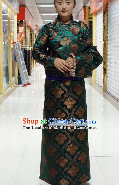 Chinese Zang Nationality Green Satin Tibetan Robe, China Traditional Tibetan Ethnic Heishui Dance Costume for Women
