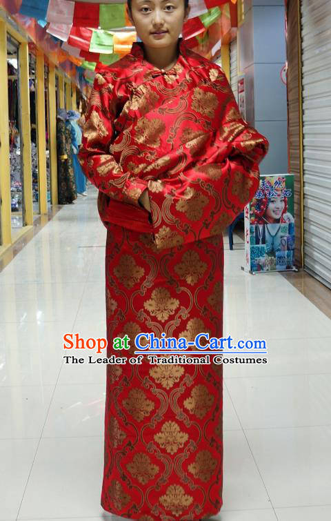 Chinese Zang Nationality Red Satin Tibetan Robe, China Traditional Tibetan Ethnic Heishui Dance Costume for Women