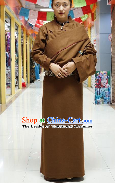 Chinese Zang Nationality Coffee Tibetan Robe, China Traditional Tibetan Ethnic Heishui Dance Costume for Women