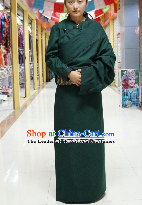 Chinese Zang Nationality Deep Green Tibetan Robe, China Traditional Tibetan Ethnic Heishui Dance Costume for Women