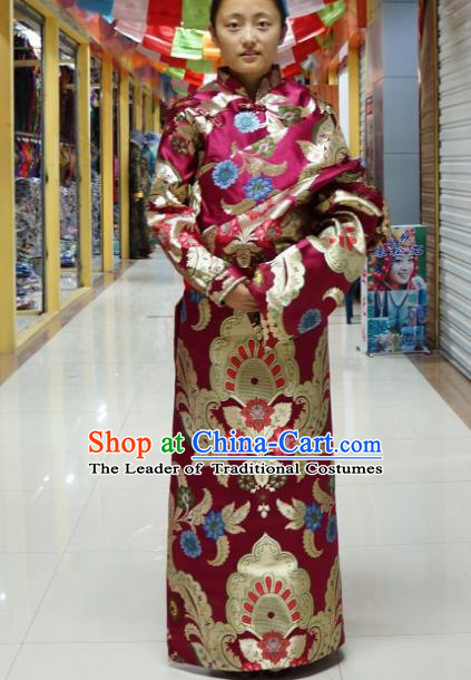 Chinese Zang Nationality Brocade Tibetan Robe, China Traditional Tibetan Ethnic Heishui Dance Costume for Women
