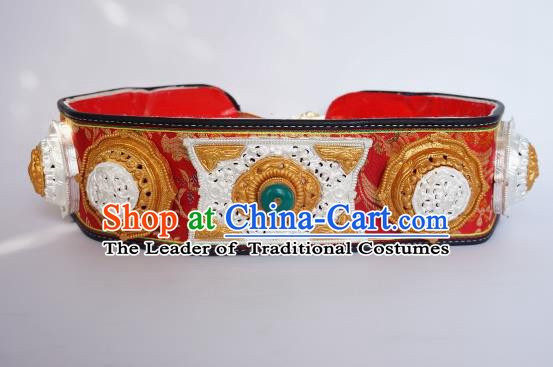 Chinese Traditional Zang Nationality Waist Accessories, China Tibetan Ethnic Waistband Belts for Men