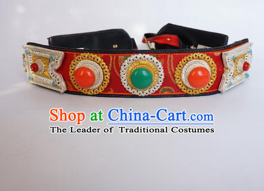 Chinese Traditional Zang Nationality Belts Waist Accessories, China Tibetan Ethnic Waistband for Men