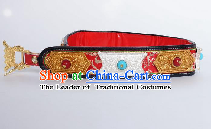 Chinese Traditional Zang Nationality Waist Accessories Belts, China Tibetan Robe Ethnic Waistband for Men