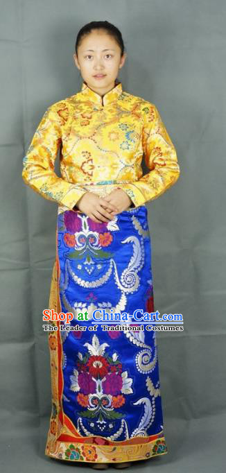 Chinese Zang Nationality Blue Brocade Tibetan Bust Skirt, China Traditional Tibetan Ethnic Heishui Dance Costume for Women