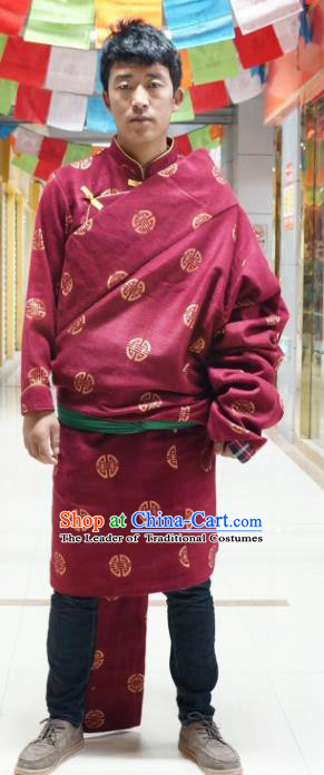 Chinese Traditional Zang Nationality Tibetan Robe, China Tibetan Ethnic Heishui Dance Costume for Men