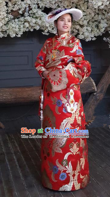 Chinese Zang Nationality Wedding Tibetan Robe, China Traditional Tibetan Ethnic Heishui Dance Costume for Women