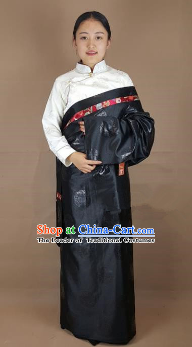 Chinese Zang Nationality Black Brocade Tibetan Robe, China Traditional Tibetan Ethnic Costume for Women