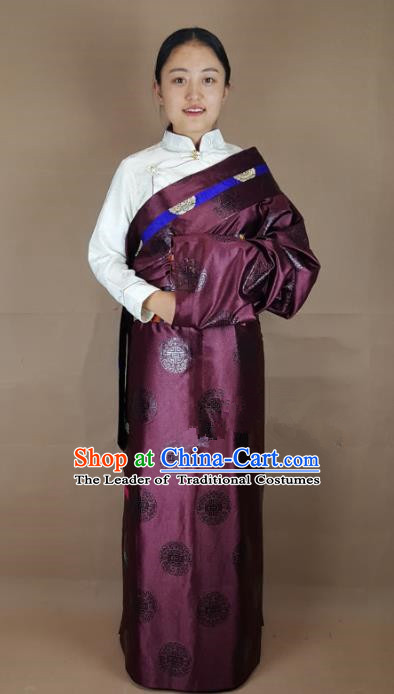 Chinese Zang Nationality Purple Brocade Tibetan Robe, China Traditional Tibetan Ethnic Costume for Women