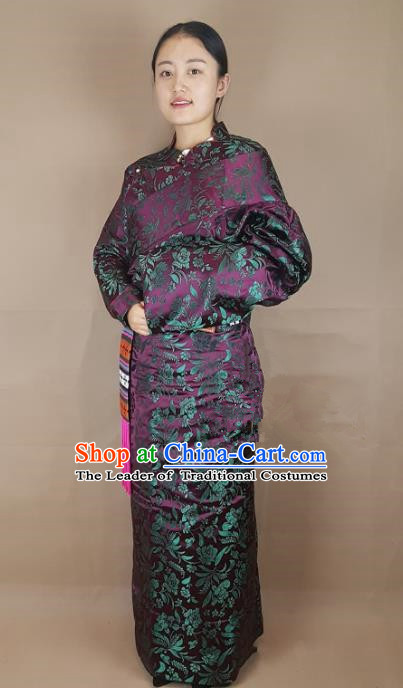 Chinese Zang Nationality Deep Purple Brocade Tibetan Robe, China Traditional Tibetan Ethnic Costume for Women