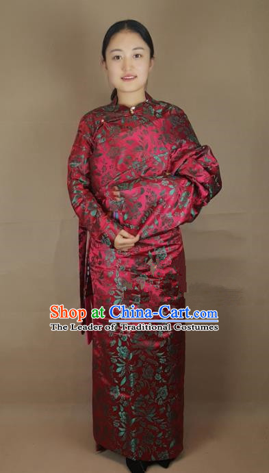 Chinese Zang Nationality Red Brocade Tibetan Robe, China Traditional Tibetan Ethnic Costume for Women