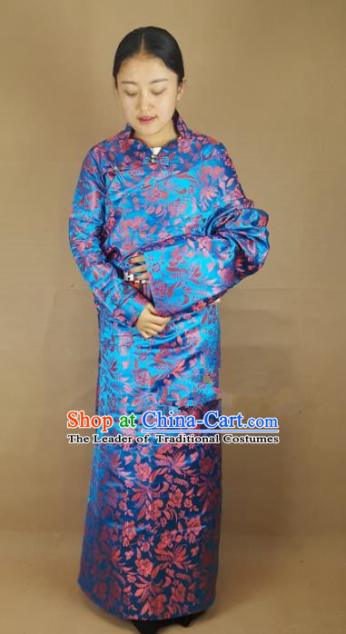 Chinese Zang Nationality Blue Brocade Tibetan Robe, China Traditional Tibetan Ethnic Costume for Women