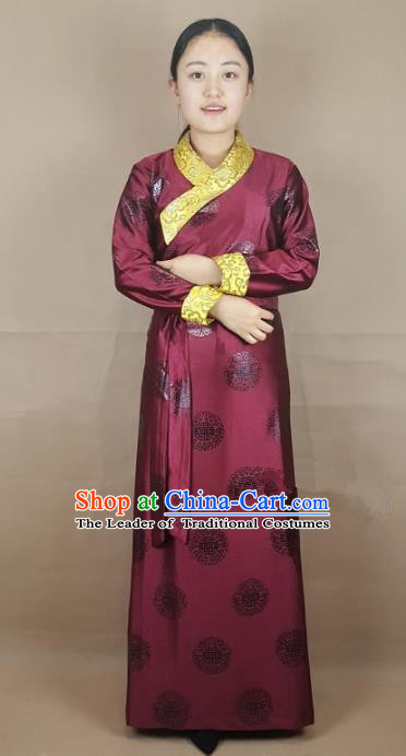Chinese Zang Nationality Folk Dance Wine Red Brocade Tibetan Robe, China Traditional Tibetan Ethnic Costume for Women