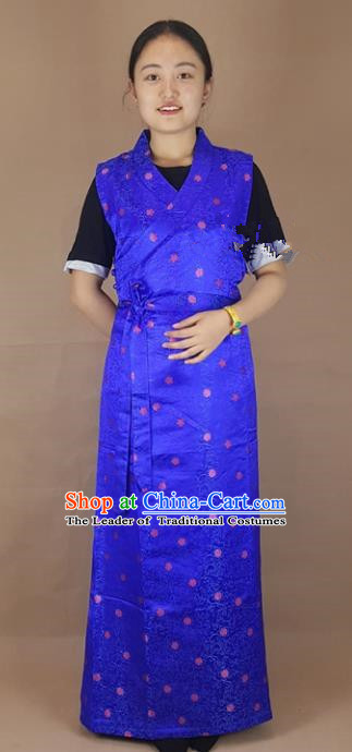 Chinese Zang Nationality Folk Dance Royalblue Brocade Dress, China Traditional Tibetan Ethnic Costume for Women