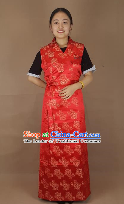 Chinese Zang Nationality Folk Dance Red Dress, China Traditional Tibetan Ethnic Costume for Women