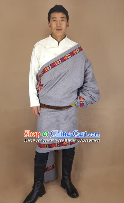 Chinese Traditional Zang Nationality Grey Tibetan Robe, China Tibetan Ethnic Heishui Dance Costume for Men