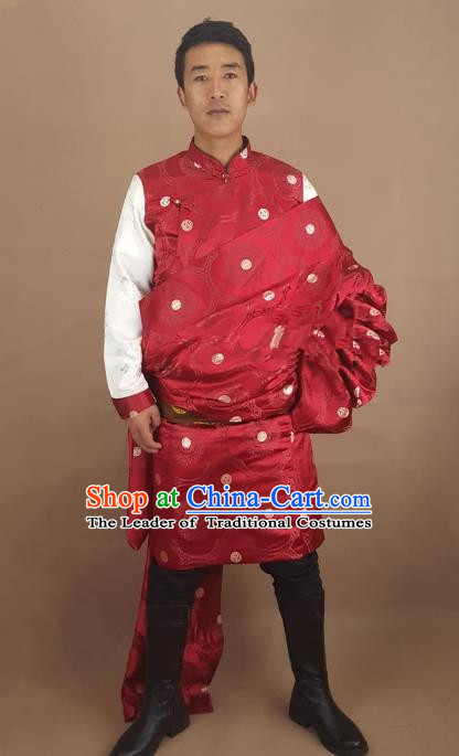 Chinese Traditional Zang Nationality Red Tibetan Robe, China Tibetan Ethnic Folk Dance Costume for Men