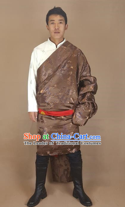 Chinese Traditional Zang Nationality Brown Tibetan Robe, China Tibetan Ethnic Folk Dance Costume for Men