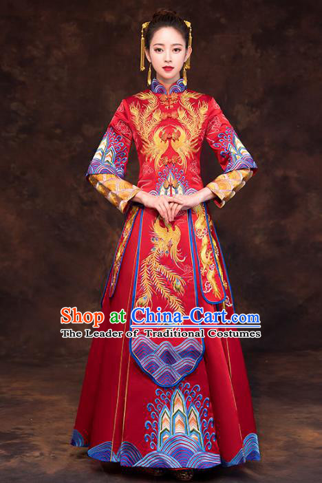 Chinese Ancient Wedding Costume Traditional Xiuhe Suit Bride Embroidered Phoenix Red Full Dress for Women