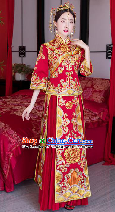 Chinese Ancient Wedding Costume Traditional Bride Xiuhe Suit Embroidered Peony Red Full Dress for Women