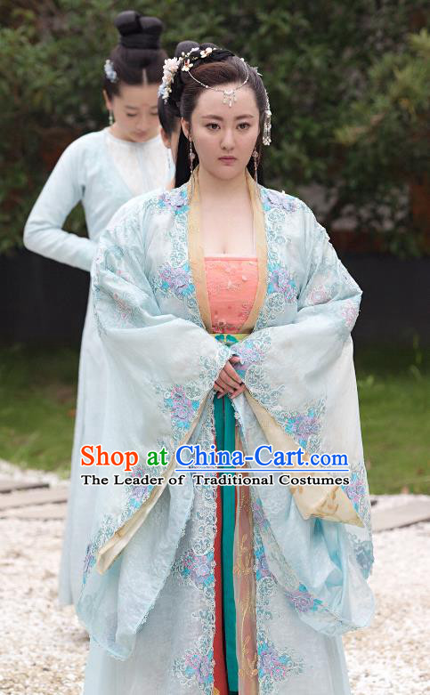 Chinese Ancient Northern and Southern Dynasties Princess Consort Hanfu Dress Embroidered Replica Costumes for Women