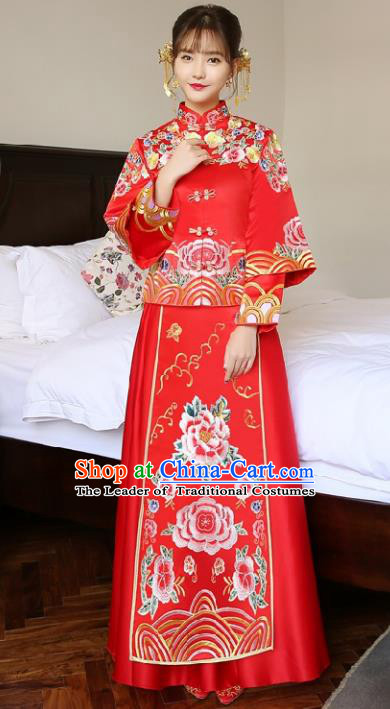 Chinese Traditional Wedding Bottom Drawer Ancient Bride Costume Embroidered Xiuhe Suit Red Full Dress for Women