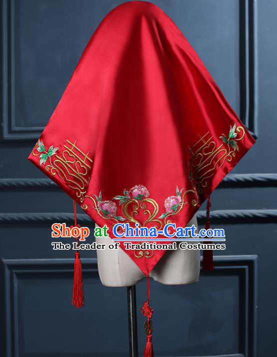 Chinese Traditional Handmade Wedding Embroidered Peony Red Bridal Veil Xiuhe Suit Hair Accessories for Women