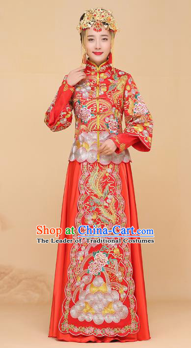 Chinese Traditional Wedding Bottom Drawer Ancient Bride Embroidered Xiuhe Suit Red Cheongsam for Women