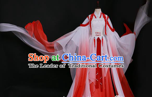 Traditional Chinese Princess Costume Ancient Tang Dynasty Palace Lady Red Hanfu Dress for Women