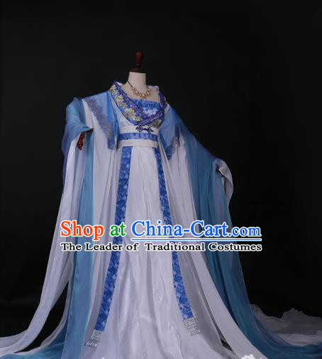 Traditional Chinese Princess Embroidered Costume Ancient Tang Dynasty Imperial Concubine Blue Hanfu Dress for Women