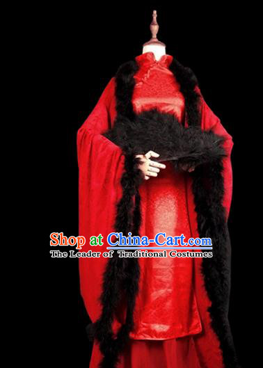 Chinese Ancient Cosplay Swordswoman Red Hanfu Dress Han Dynasty Female Knight-errant Costume for Women